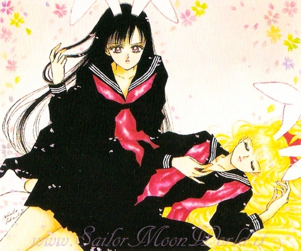 "Rare artwork of Rei Hino (Sailor Mars) & Minako Aino (Sailor Venus) wearing bunny ears & school uniforms (fuku) from anime & manga series ""Sailor Moon"" by manga artist Naoko Takeuchi."