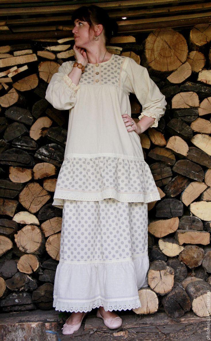 """Купить Комплект юбка и блуза из хлопка и льна """"Ванильное монпансье"""" - бежевый…"""