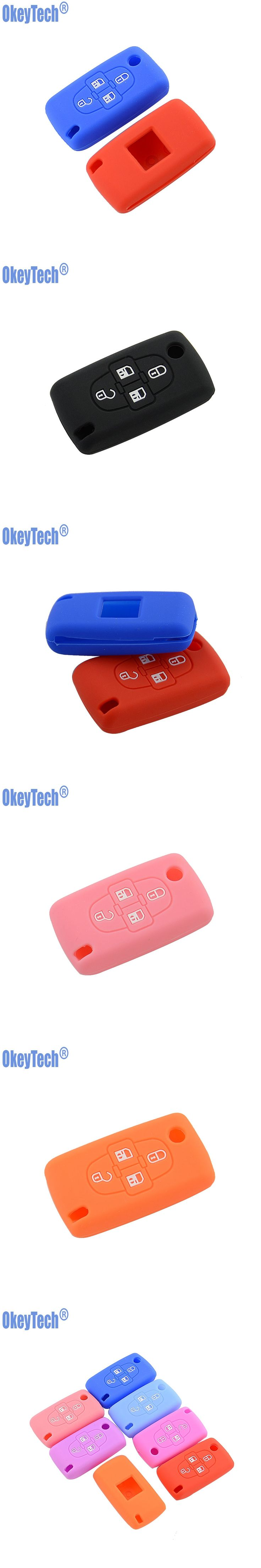 OkeyTech Silicone Car Key Fob Cover Case Skin For Peugeot Car Key 4 Buttons For Peugeot 1007 807 Protector Holder Free Shipping