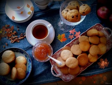 *Good morning* - sweet, breakfast, tea, autumn, good morning, food, cafe, hot, drinks, hq, coffee, time, bisquits, leaves
