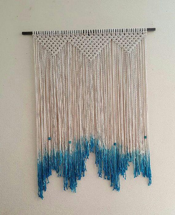 Large Macrame Wall Hanging Dip Dyed Blue Macrame By