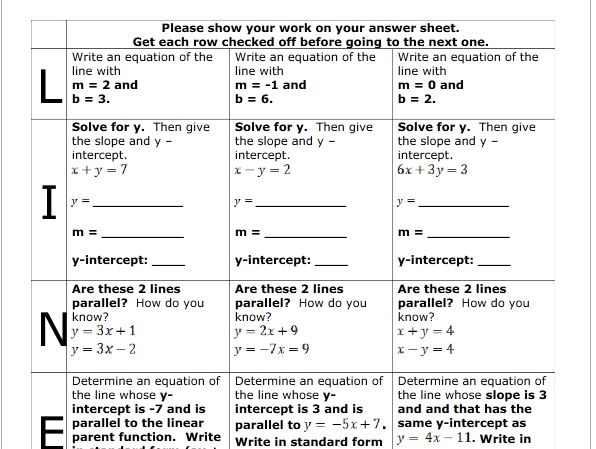 Writing linear equations review