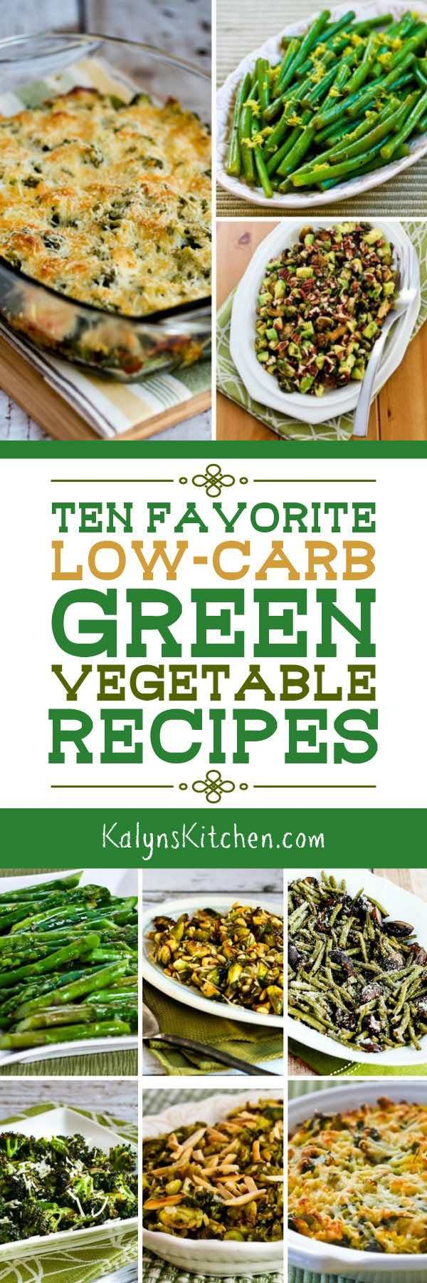 When you're making a special holiday meal, it's nice to have some green vegetables to balance out the rich foods, and here are Ten Favorite Low-Carb Green Vegetable Recipes that are great for a holiday meal or special dinner! [found on KalynsKitchen.com] #GreenVegetables #LowCarbGreen Vegetables #HolidayGreenVegetables