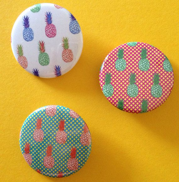"A trio of 3 .5cm (1 3/8"") diameter pin back badges taken from select portions of my paintings & illustrations"