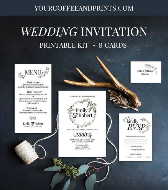 printable greenery wedding invitation suite by YourCoffeeAndPrints