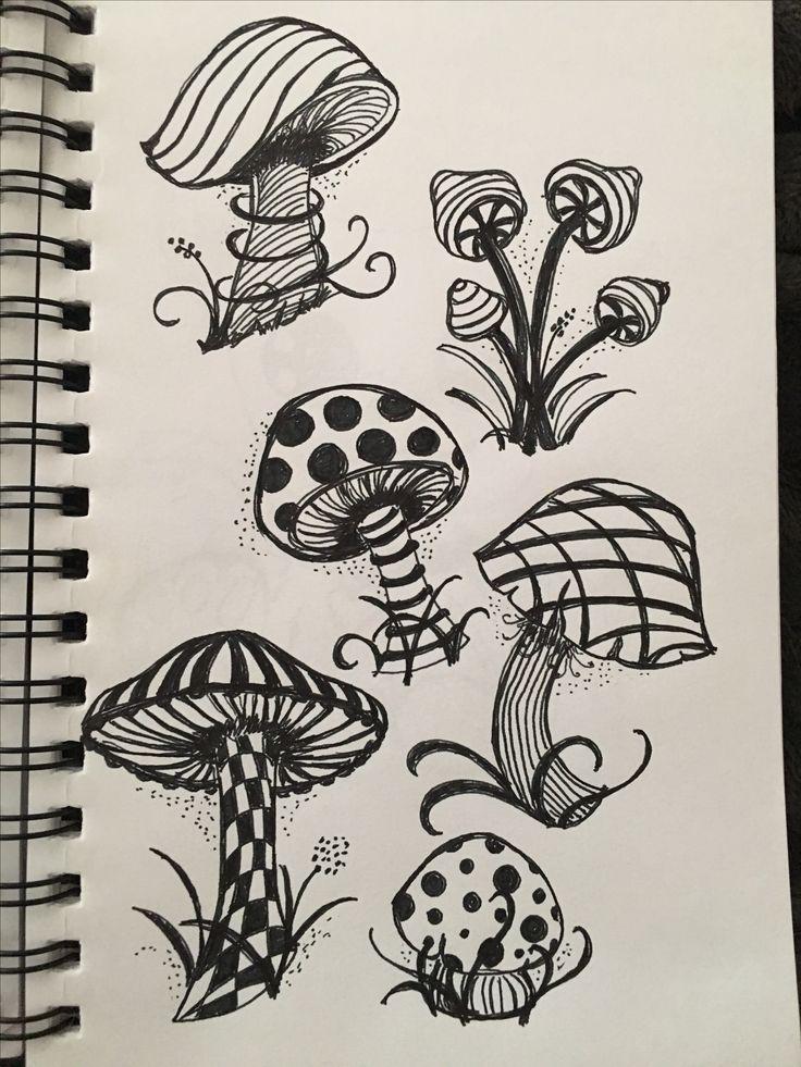 Patterned mushrooms | Trippy drawings, Doodle art, Drawings