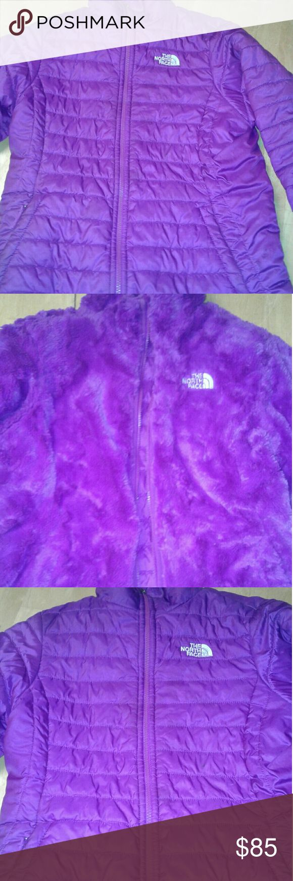 """Kids Reversible North Face Purple North Face. Reversible. One side is incredibly warm and fuzzy, the other size is normal """"jacket"""" type material, the non fuzzy size has a very small black mark, not noticable at all while on. The fuzzy side is completely flawless. This jacket is girls size 14/16 fits a womans xs/small North Face Jackets & Coats"""