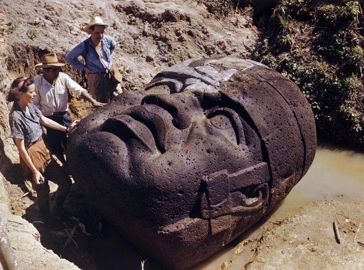 Des archéologues étudient une tête de pierre olmèque 1947