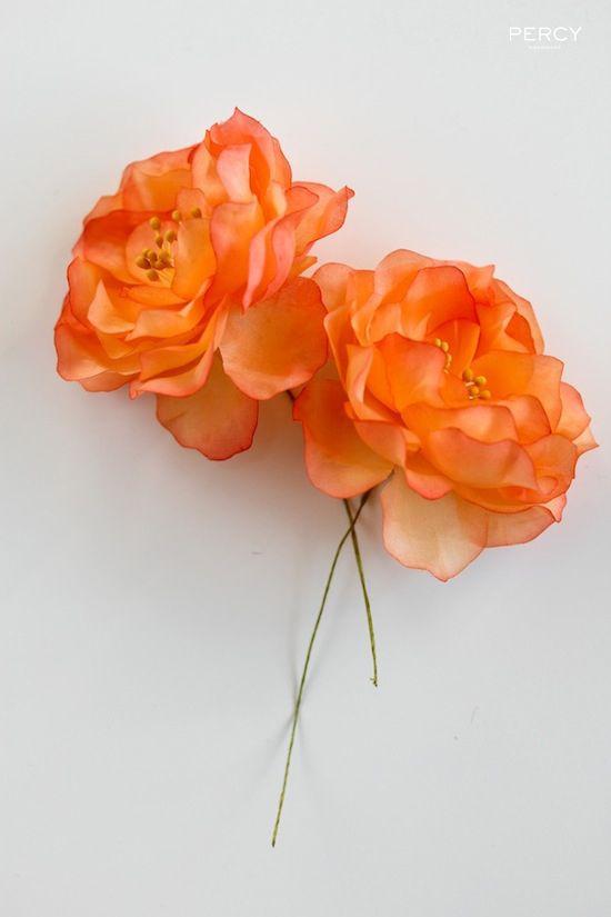 Handmade Silk Flowers In Orange By Percy Handmade These Gorgeous