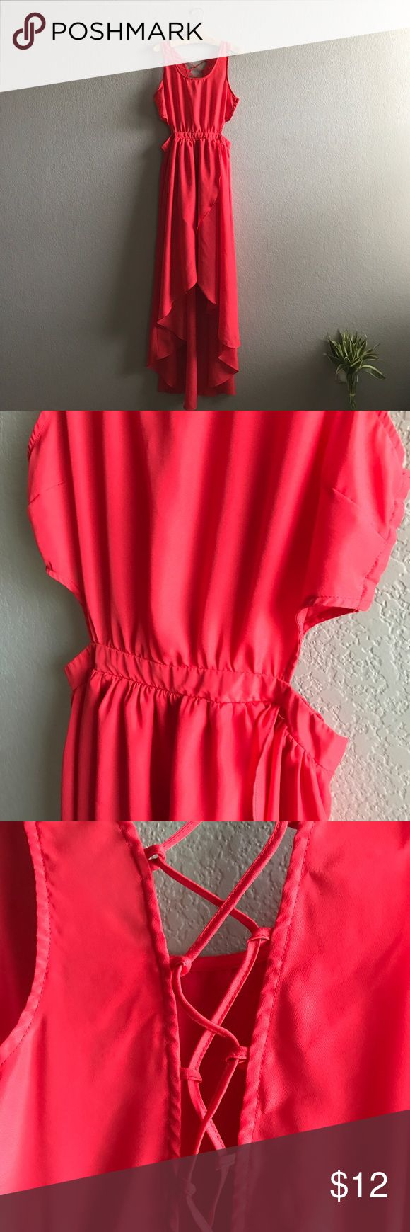 Lush Cutout Maxi Dress . S/M BEAUTIFUL maxi dress by Lush, cutout and tiers front, lined bottom portion and lace up back. Gorgeous, vibrant red almost coral color. Like new. So flattering on. Marked Medium but can fit Small Lush Dresses Maxi