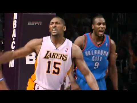 "2012. ""World Peace can't be done, it just can't exist"". Metta World Peace elbows James Harden. From his Twitter: ""I just watched the replay again..... Oooo.. My celebration of the dunk really was too much... Didn't even see James ..... Omg... Looks bad"""