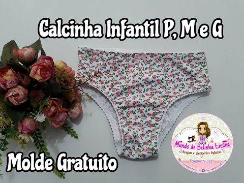 01f7ab753 Calcinha Infantil de Malha na Máquina Doméstica P