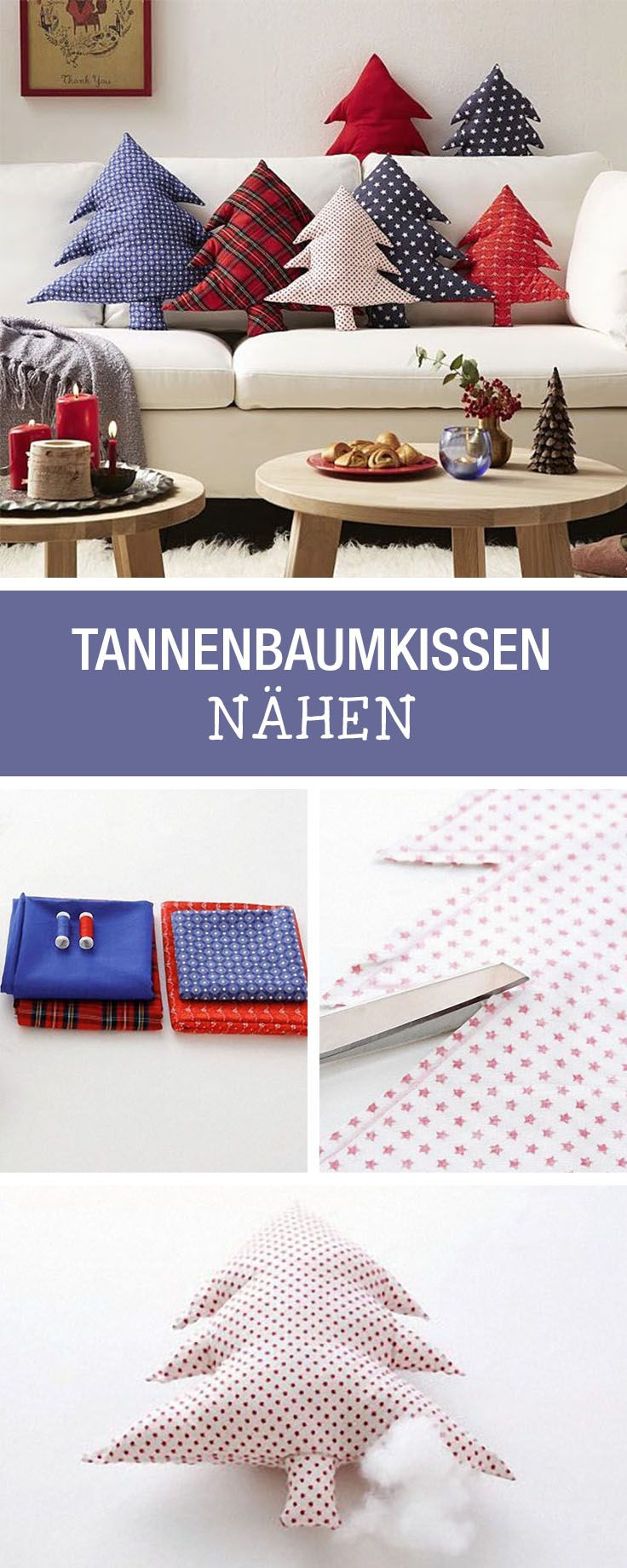 DIY-Anleitung: Weihnachtliches Kissen als Tannenbaum nähen für Deine Wohndeko / DIY tutorial: sewing christmassy pillow as pine tree for your home decor via DaWanda.com