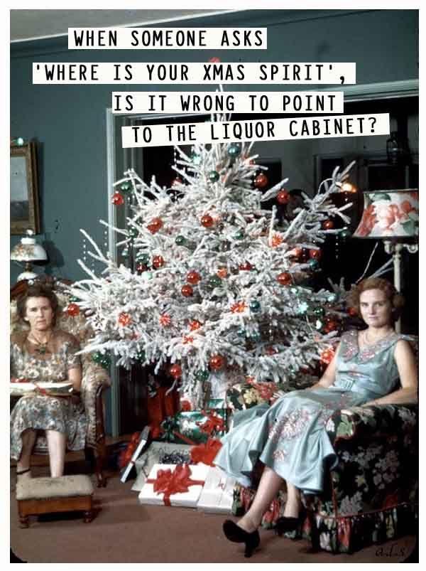 Christmas spirit -  vintage retro funny quote