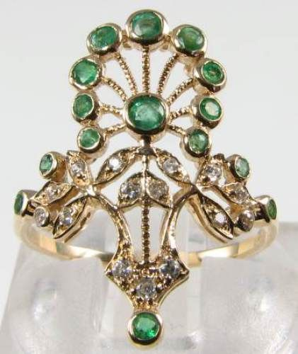 LUSH 9CT 9K GOLD LONG ART DECO INS  EMERALD DIAMOND PEACOCK RING #ArtDeco