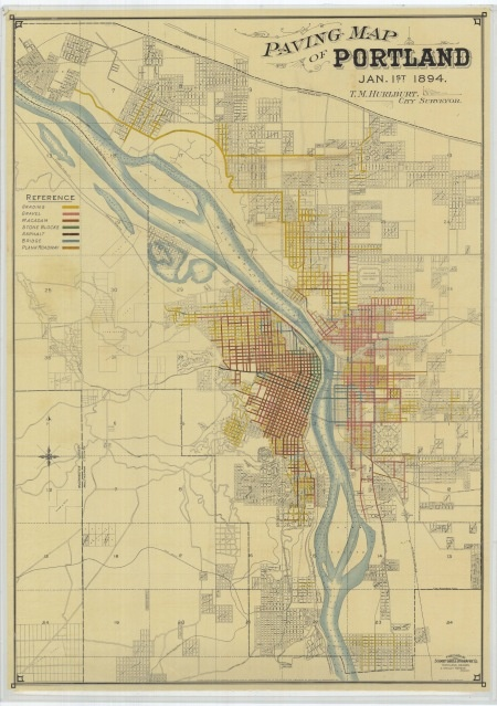 Paving Map of Portland – January 1, 1894 - This is a beautifully rendered map of Portland by City Surveyor T.M. Hurlburt. It includes color coded references to the composition of many Portland streets. River depths and ferry crossings are also noted.
