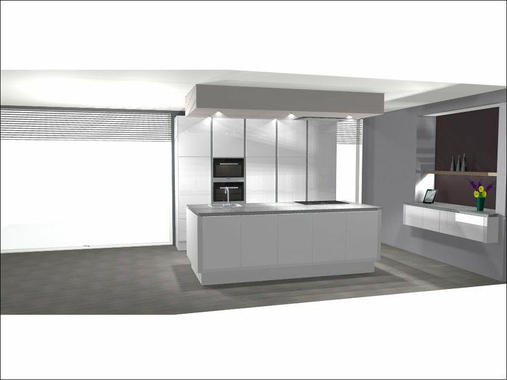 Keuken Kastenwand Met Nis : hoogglans keuken met betonlook blad; kastenwand, kookeiland en extra