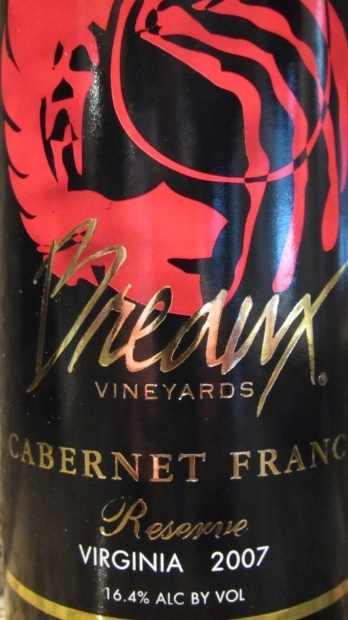 2007 Breaux Vineyards Cabernet Franc Reserve, USA, Virginia - CellarTracker!: Breaux Vineyard