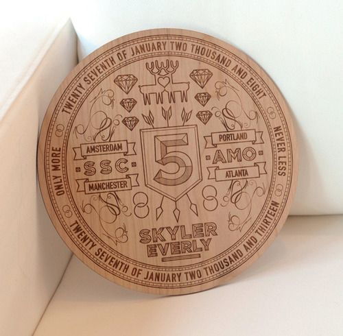 5th Anniversary Laser Etching