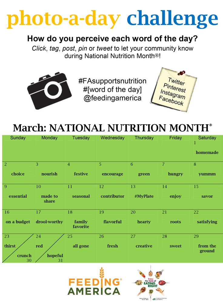 Support Feeding America during National Nutrition Month (March) with the Photo-A-Day Challenge!: Marching National, Food Banks, Photos A Day Challenges, Month Marching, Month Photos, America Photos, Nutrition Month, National Nutrition, Photos Challenges