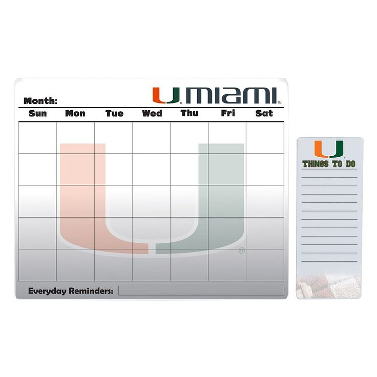 Miami Hurricanes Dry Erase Calendar & To-Do List Pad Set, Multicolor
