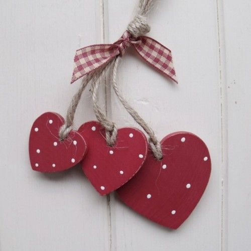 red hearts with polka dots