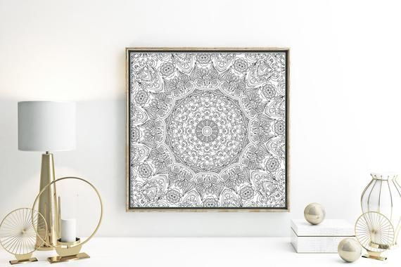 Paisley wall art above couch poster black and white art boho style room decor indie home decor meditation art modern loft art print poster