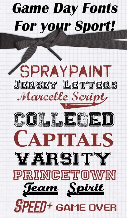 10 Game Day Fonts for your Sport  ~~  {10 free fonts w/ links} ~~