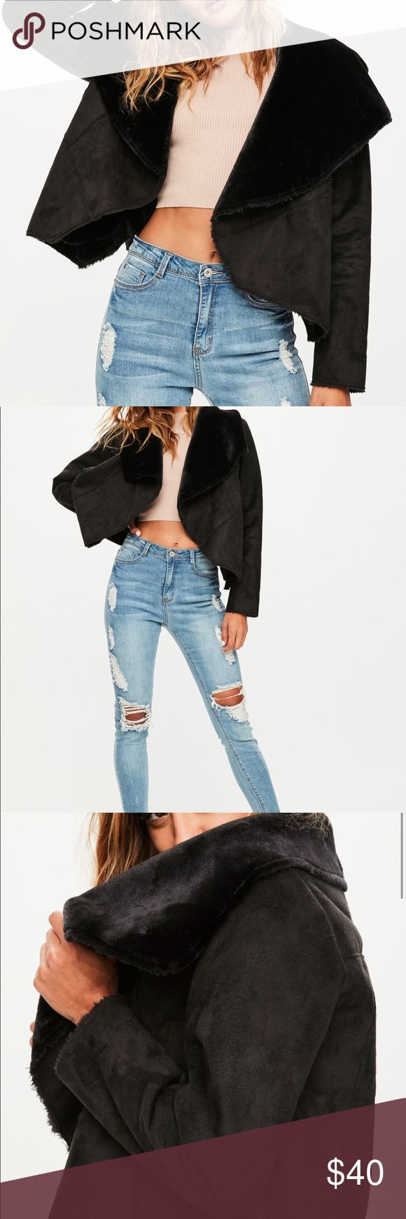 Nwt black shearling coat Nwt coat. Shearling, black waterfall. Size 4. Missguided Missguided Jackets & Coats