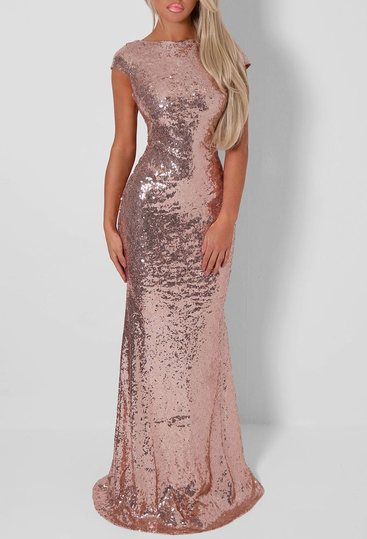 Rozanne Rose Gold Sequin Cowl Back Maxi Dress 8