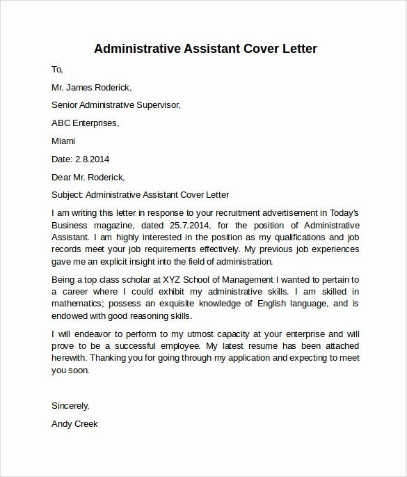 40 Cover Letter For Executive Assistant Administrative Assistant