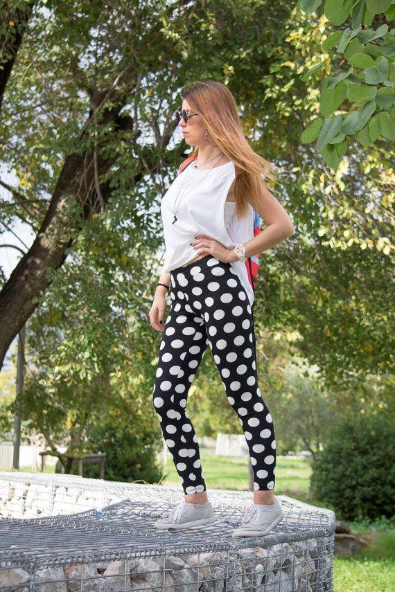 Printed Leggings Polka Dot Leggings Black White by CocoBaLeggings
