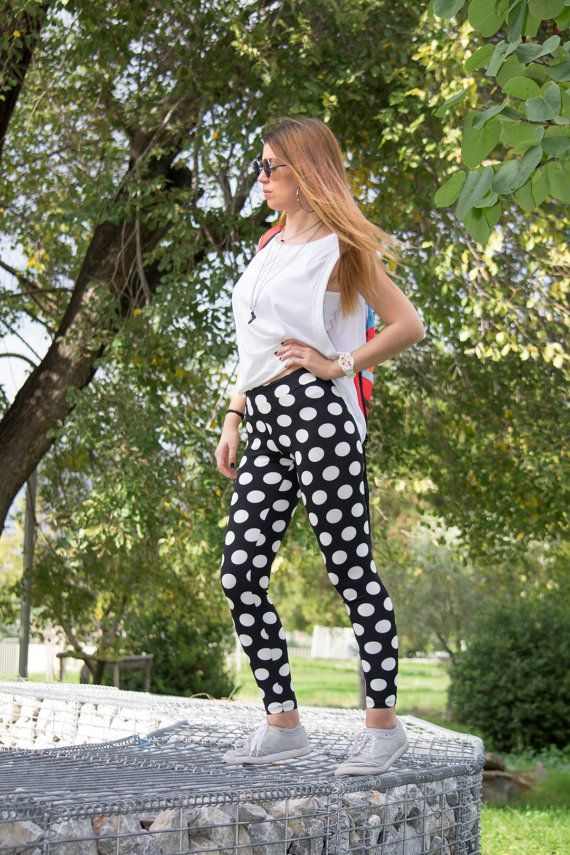 Printed Leggings Polka Dot Leggings Black White by CocoBaLeggings