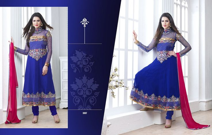 Dark Blue Colour Georgette Embroidery Work Semi-stitched Dress Material