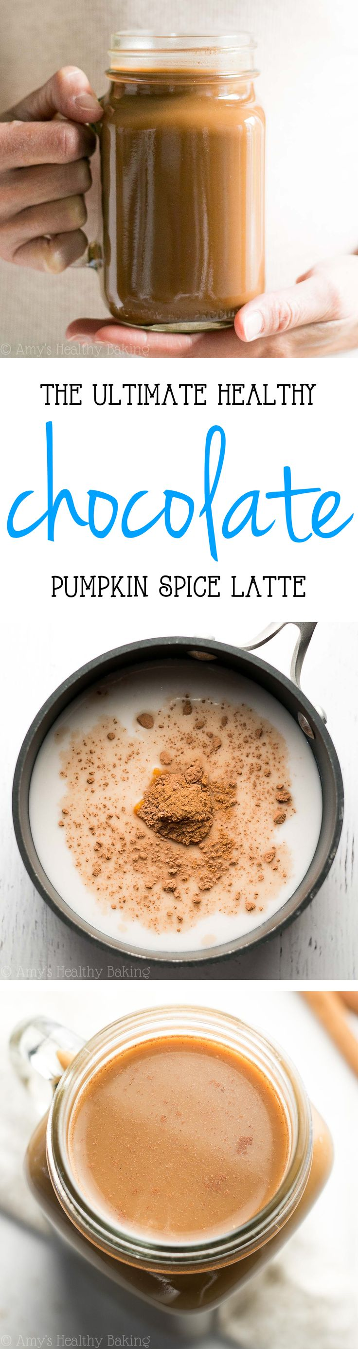 The Ultimate Healthy Chocolate Pumpkin Spice Latte -- a skinny copycat that tastes even better than the original! Just 32 calories & NO refined or artificial ingredients!