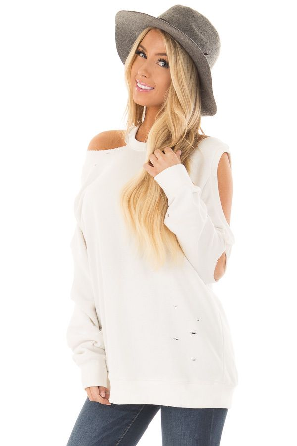9ba6dca3d268e Lime Lush Boutique - Ivory Distressed Cold Shoulder Sweater