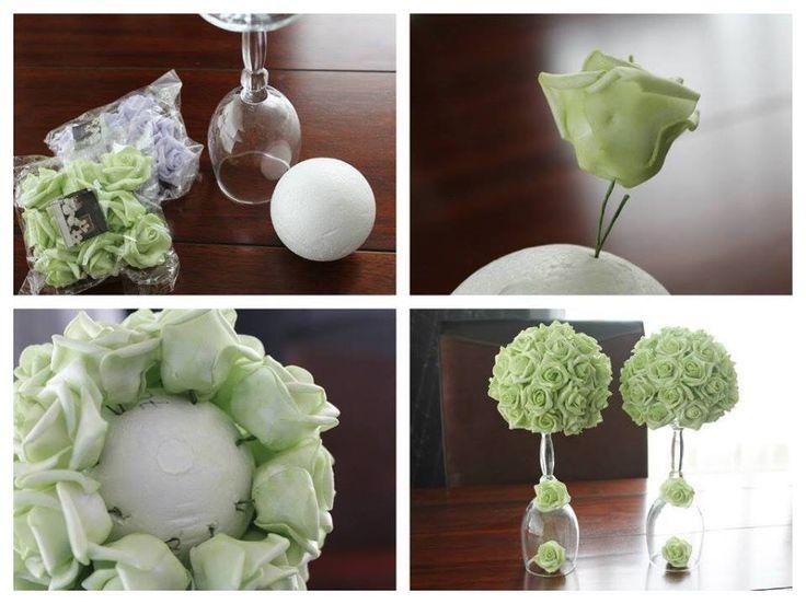 Decoratie voor in huis gemaakt met spullen van de action. Leuk die roosjes!