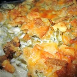 Green Bean casserole.... No cream of mushroom soup, sour cream instead. Was