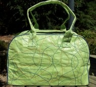 Recycled Overnight bag--lime made of recycle rice bags in cambodia