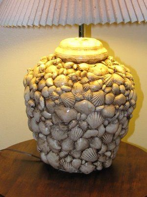 DIY Seashell Lamp - could replace shells with other items - buttons perhaps ?