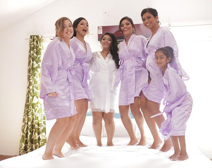 7221e6fdb Bridesmaid Robes Lavender Lilac wedding robes bridesmaid silk robe dressing  gown personalized silk robe kimono robes floral robe bridal robe