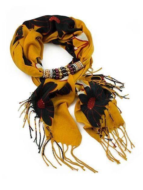 Šála s bižuterií Violeta 396vio004-11.70 - oranžová s černými květy - Bijoux Me!