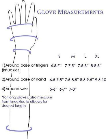 Thanks to HatSupply.com for this chart for making gloves that fit perfectly.