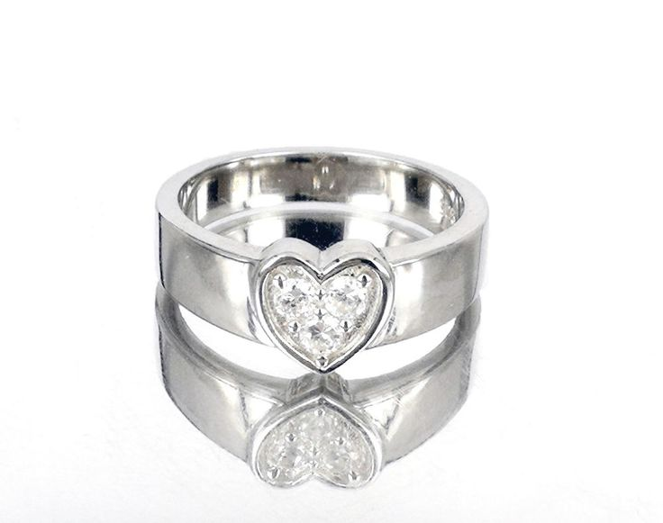 SOLID 925 STERLING SILVER CZ Heart Ring Anniversary Wedding Cocktail Size 5