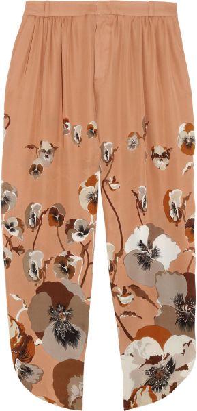 GUCCI Cropped Printed Silk Georgette Pants