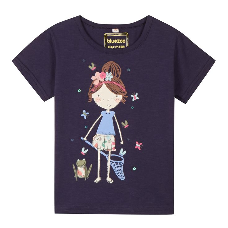 Girl's navy girl and butterflies print t-shirt - Kids - Debenhams.com