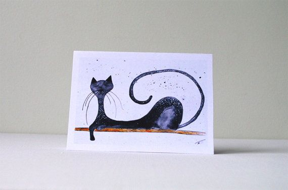 CAT CARD Funny birthday card for him  Animal card by artbyasta