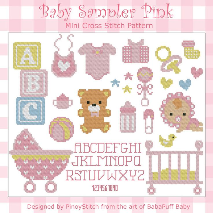 Create your own baby sampler or just stitch as a project. This baby sampler includes full alphabet and numbers for customization. Available in blue or pink.
