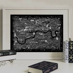 Typographic Map Of Literary London Print - art & pictures