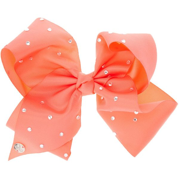 JoJo Siwa Large Rhinestone Coral Signature Hair Bow (1.935 RUB) ❤ liked on Polyvore featuring accessories, hair accessories, large hair bows, coral hair accessories, rhinestone hair accessories, siwa and sparkly hair accessories